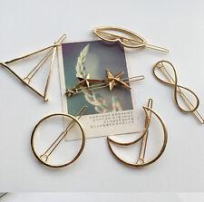 New Dainty Gold Hairpin, triangle, infinite, circle, moon geometric metal