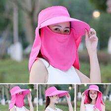 AU Women Summer Wide Brim Riding Fishing Sun Hat Adjustable + Face Cover Veil