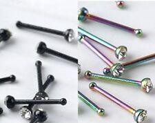 Nuevo De Acero Inoxidable Nariz Stud Pin Con Claro Cz Gema Negro Rainbow 20g