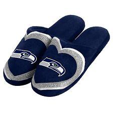 Seattle Seahawks Slippers HEART Logo NEW Womens Slide House shoes! Glitter