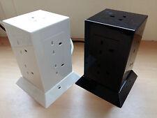 Black White Extension Power Hub 8 9 Sockets 2 USB Points 1.5m Lead Surge Protect