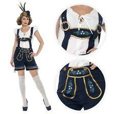 Ladies Traditional Deluxe Oktoberfest Bavarian Mini Dirndl Shorts Lederhosen Top