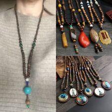 Retro Bodhi Wood Bead Pendant Necklace Fashion Long Sweater Chain Jewellery Gift