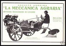 PUBBLICITA' 1919 MOTO ARATRO PATUZZO LA MECCANICA AGRARIA LISSONE MILANO TRACTOR