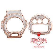 14k Rose Gold Tone Lab Diamond Casio G-Shock DW6900 Watch Bezel Face Plate Set