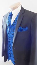 Royal Blue XS to 6XL Paisley Dress Vest Waistcoat & Neck tie Hanky  20BB Men's