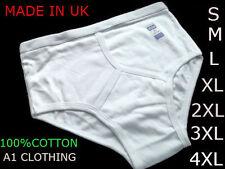 3 hommes Y Fronts Slip 100% coton int, sous-vêtements/Blanc S M L XL 2XL 3XL 4XL