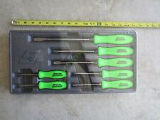 New Snap On RACING Green Hard Handle Combination Screwdriver 7 Pcs Set SDDX70AG