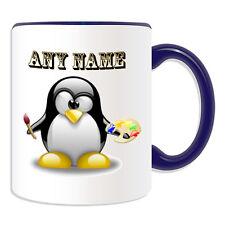 Cadeau personnalisé artiste Penguin tasse argent boîte cup peintre nom personnaliser café
