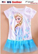 NEW Girl Frozen Elsa TUTU MINI DRESS WHITE AND BLUE1-6y #k65b