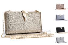Ladies Small Glitter Evening Clutch Bag Womens Wedding Party Hard Case Handbag