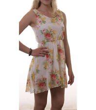 Madonna High-Low Chiffon Sommerkleid Minikleid kurz Blumenmuster Weiß