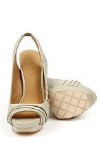 L.A.M.B. Women Ethel CREAM Peep Toe Slingback Sandal Heels LAMB Pumps Platform