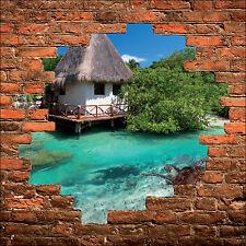 Sticker mural trompe l'oeil mur de pierre déco Les tropiques Tortue réf 878