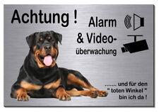 Rottweiler-Hund-Aluminium-Edelstahl-Optik-15x10 cm-Alarm-Video-Schild-Warnschild