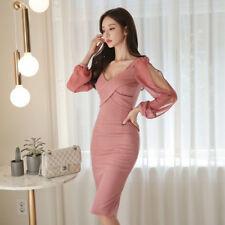 Elegante vestito abito tubino manica rosa cipria elegante morbido ginocchio 4868