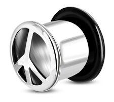 Flesh Plug Tunnel Piercing Orecchio acciaio inox PACE motivo ANELLI O 1 pz.