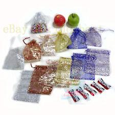 12/25/50/100PCS Print Pattern 17cmx12cm Organza Jewelry Pouch Wedding Gift Bags