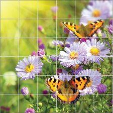 Stickers carrelage mural déco Fleurs et Papillons 1875