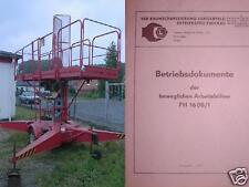VEB EAW Arbeitsbühne Baubühne Anleitung Betriebsdokumente FH1600/1 FH1600