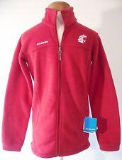 NWT Columbia WSU Cougars Youth Boys Flanker F/Z Fleece Jacket Crimson MSRP$40