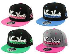 K I Headwear NEW YORK 2 Tone NY Script SNAPBACK Flat Peak Cap Snap Back