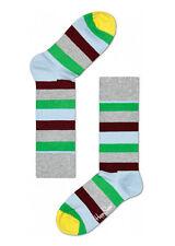 Happy Socks Unisex Combed Cotton Crew Stripe in Gray/Green/Sky