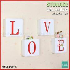 Square Wall Storage Shelf Unit Rack Door Shelves Floating Bookshelf Hooks Love