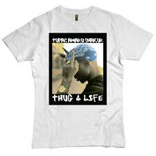TUPAC THUG 4 LIFE MENS & WOMENS T SHIRT WHITE MUSIC TEE RAP - AMARU SHAKUR NICE!