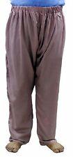 Indian Man's Big & Tall Pajama Beige Solid Loose Fit Pant Yoga Baggie Trouser