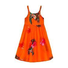 Aloha Summer Beach Hawaiian Cruise Luau Elastic Strap Girl Dress Orange Floral