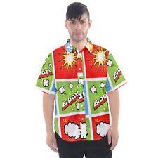 Comic Strip Geek Humor Casual Funny Short-Sleeve Button Down Shirt Men's CM1