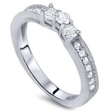 1/3ct Curved Diamond Vintage Ring 14K White Gold