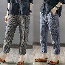 UK 8-24 ZANZEA Women Striped High Waist Long Leggings Harem Pants Loose Trousers