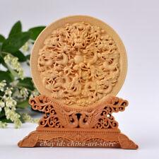 China Cypress/Box-wood Hand-carved Dragon Phoenix Kwan-yin Buddha Plate Ornament