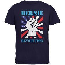 Election 2016 Bernie Sanders Raised Fist Revolution Navy Adult T-Shirt