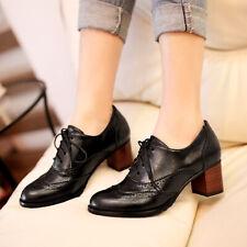 Retro Womens Brogue Lace Up Block Heels Oxford Leisure Lolita Fashion Pump Shoes