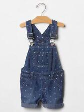 New Baby Gap Polka Dot Cuffed Denim Blue Jean Short Overalls size 4T NWT