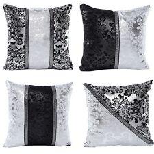 Silver Black Square Pillow Cases Sofa Throw Cushion Cover Luxury Home Sofa Decor
