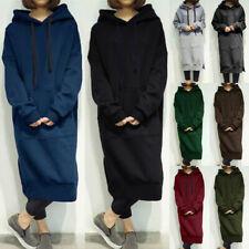 Women Ladies Sweatshirt Long Hooded Sweater Hoodie Jumper Winter Dress Oversized