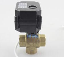 "HSH-Flo 1/2"" DN15 DC12V Motorized Ball Valve, 3 Way T Type Electrical Ball Valve"