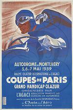 PLAQUE ALU REPRODUISANT UNE AFFICHE COUPES DE PARIS AUTODROME MONTLHERY 1939