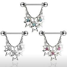 Brustwarzenpiercing Brustpiercing mit hängenden Sternen und Kristallsteinchen