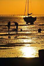 SUNSET su una barca in Thorpe Bay Southend Essex FOTOGRAFIA FOTO POSTER stampati
