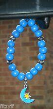 In Car Blue & Yellow Moon & Star Crescent Pendant & Wooden Beads Islam Muslim