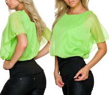 Sexy Damen Chiffon Bluse Shirt Fledermaus Pump 34/36/38 TOP schwarz Neon Grün