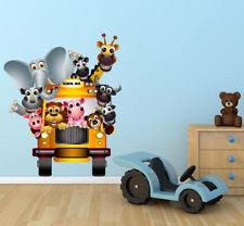 Zoo Animals Bus Wild Cartoon Wall Art Sticker Mural Decal Graphic Nursery WSD232