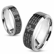 Stainless Steel Wedding Engagement Band Lord's Prayer Black IP Beveled Edge Ring