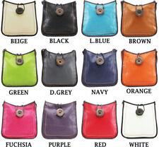 Ladies Faux Leather Button Cross Body Messenger Bag Women Shoulder Tote Satchel