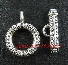 24/80sets Tibetan Silver Nice Circle Toggle Clasps 23x17.5x3mm 211